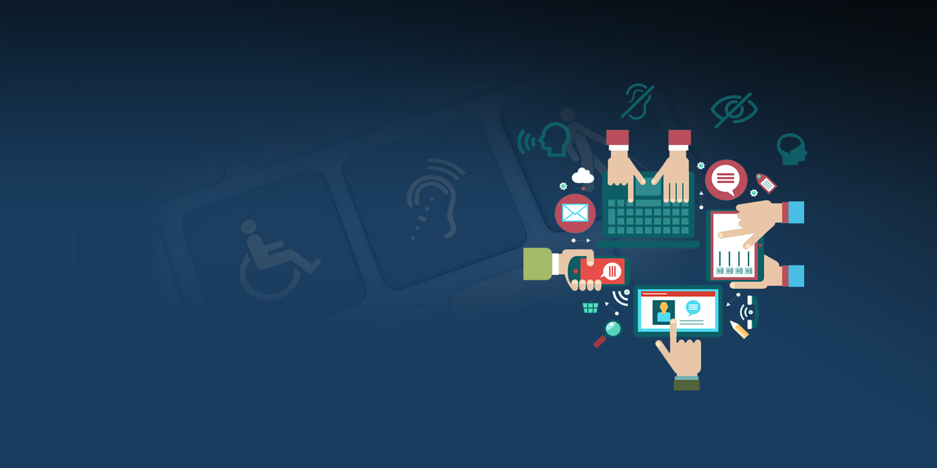 blue background representing accessibility with technology devices displayed and icons representing voice, sound, vision and cognative