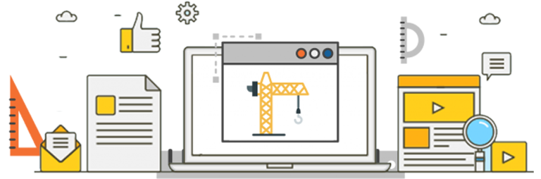 Under Constrution Graphics showing devices, construction crane, clouds and other graphics