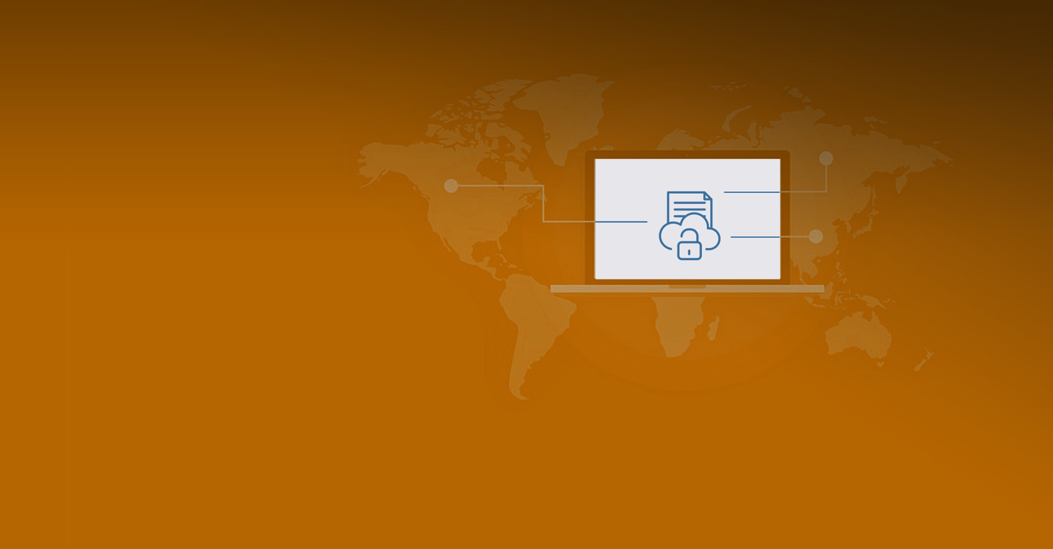 orange background with world map in background and desktop screen on top displaying lock, cloud and document icon