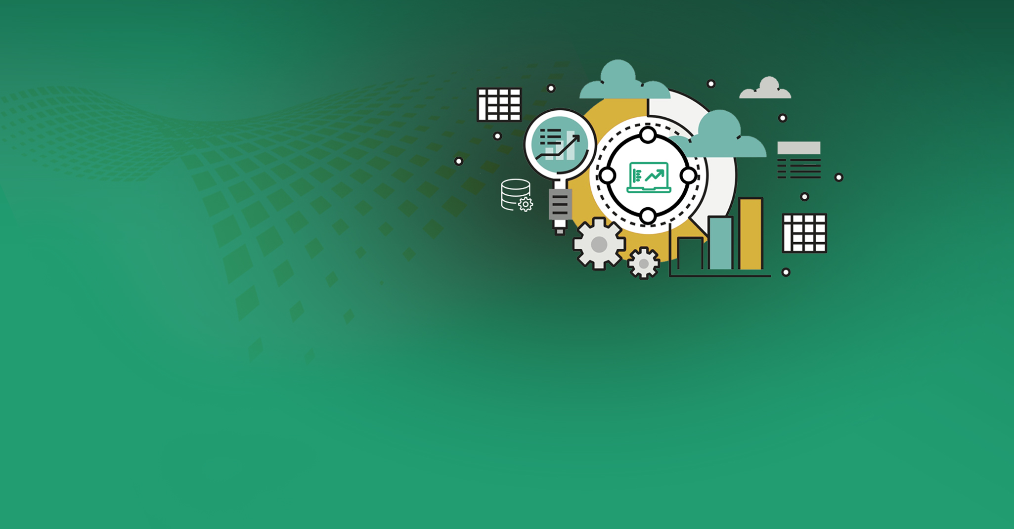 green background with a gears, charts, clouds and database icons displayed