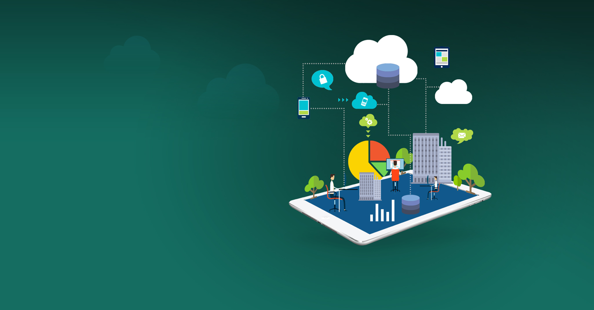 green background with trees, buildings, charts and people on top of a tablet connected to clouds and devices in the sky