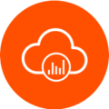1. Enable business transformation displaying cloud and bar chart graphic in an orange circle