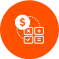 6. Cost Optimization icon showing $ and calculation symbols in a circle