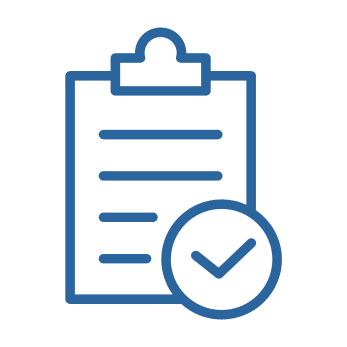 Blue icon with checklist representing accessibilitiy compliance